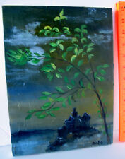 LP17 (F6) Unusual Outsider Art Painting on Canvas Evening Castle Signed Sara Erb