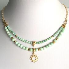 DESIGN COLLIER 2-reihig grüner Opal mit Blütenanhänger . 925 Silber vergoldet