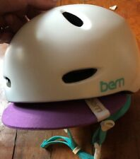 BERN Berkeley Women's White Helmet w/ Purple Visor GLOSS White M-L Medium Large