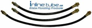 56-60 Oldsmobile Full-size Front Rear Drum Brake Rubber Flex Hose Line Set 3 pc