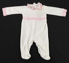 Baby Girl - LARANJINHA - White - Velour Babygrow - Age 1 Month (Newborn)