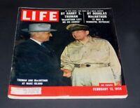 LIFE MAGAZINE FEBRUARY 13 1956 TRUMAN & MAC ARTHUR AT WAKE ISLAND