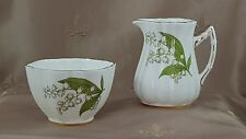 "OLD ROYAL Bone China ""Lily of the Valley"" Open SUGAR BOWL & CREAMER  ENGLAND"