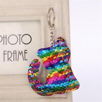 Animal Cat Keyring Mermaid Sequins Keychain Bag Accessories Handbag Pendant