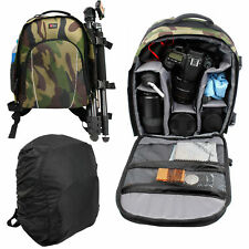 Water Resistant Camo Backpack for Olympus E-450, E-30 Camera & Olympus OM-DE-M5