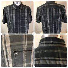 QUIKSILVER MENS REGULAR FIT BUTTON UP SHIRT RAPMASTER SIZE LARGE BLACK        D6