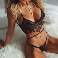 Sexy Women Lace Babydoll Lingerie Underwear Nightwear Sleepwear Bra G-string Set