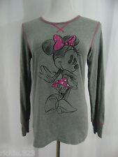 Disney Minnie Mouse Gray Tee W/Pink Long Sleeve Sleepwear Shirt Size M
