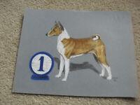 Original Vintage 1970 PDP Signed Pastel Basenji Dog Painting