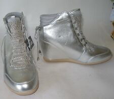 "new Silver 3""Wedge Heel Round Toe Ankle Boot Front Rhinestone / Lace Size 5.5"
