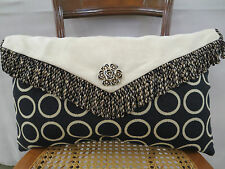Geometric Upholstery Suede Fabric Envelope Pillow Brooch Feather 21 In x 13 In