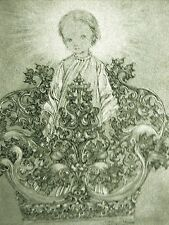Sulamith Wulfing 1933 YOUNG BOY w HALO SITTING on TOP of a CROWN Print Matted