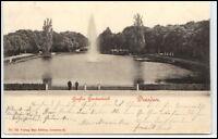 Dresden Sachsen alte Postkarte 1900 Großer Gartenteich mit Brunnen gelaufen