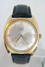 Vintage Gold color Swiss AVIA MATIC 25J Automatic Watch 1970s* EXLNT* SERVICED