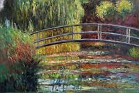 Claude Monet Bridge over Water Lily Pond Repro Hand Painted Oil Painting 24x36in