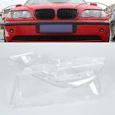 Pair of  Left & Right Headlight Lenses Cover Polycarbonate For BMW E46 2002-2005