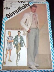 Simplicity 5866 Men's H. Grethel Jacket Shirt Pants Shorts Vtg Pattern Sz 42 FF