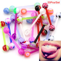 20x/Set Mixed Colors Barbell Ball Tongue Bar Rings Body Piercing Jewelry JG