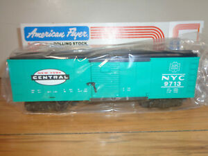 AMERICAN FLYER S GAUGE # 4-9713 NEW YORK CENTRAL JADE GREEN BOX CAR - NEW