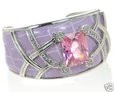Solid 925 Sterling Silver Pink & Clear CZ Lavender Leather Cuff Bracelet '