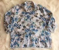 Draper's & Damons Petite Sheer 3/4 Sleeves White Blue Floral Top Blouse PM Women