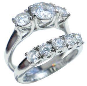 1.45ct Stainless Steel Beautiful Lab Created Diamond Ring & Band Set Stamped 316