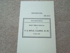 1943 Dated WW2 USGI  Manual FM 23-5 Rifle M1 Garand .30 Cal. 365 Pages
