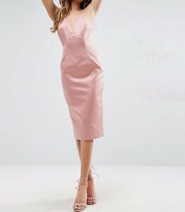 BRANDED Lace Insert Cami Midi Pencil Evening Dress in Pink UK 12/EU 40/US 8