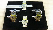 Military Minions Cufflink,tieslide lapel pin set, Despicable Me, minion soldier