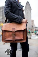 Large Tan Brown Vintage Style Handcrafted Leather Satchel Messenger Laptop Bag