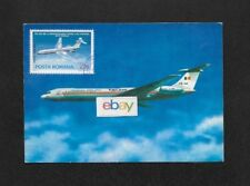 TAROM ROMANIA IL-62 #YR-IRA AIRLINE ISSUE POSTCARD & POSTA ROMANA IL-62 STAMP