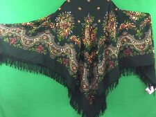 Châle 146x146 cm 100% laine, franges de laine authentique PAVLOV POSSAD RUSSIE