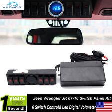 07-16 Jeep Wrangler JK 6 Switch Control Panel System Kit w/LED Digital Voltmeter