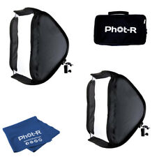 Phot-R 2x40cm Folding Softbox Diffuser Hotshoe Flash Speedlight Microfibre Cloth