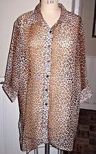 Animal Print Semi-Sheer 3/4 Short Sleeve Shirt Blouse Vtg 80s 3XL EUC