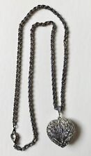 """Silvertone Necklace with Heart Shaped Pendant, 24"""" Long with Clasp"""