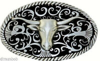 Longhorn Skull Detailed Belt Buckle