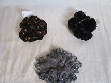 Haargummis Samt  3 Stück Stabil Haarschmuck  Grau Braun Schwarz Perlen