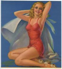 Original '40s Pearl Frush Brudon Vintage Pin Up Print Bathing Beauty Shore Queen