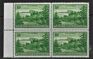 Norfolk Island 1947 1 1/2d Green on white paper SG3a - Block of 4 - MNH