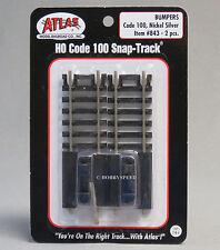 ATLAS HO SCALE CODE 100 TRAIN TRACK BUMPERS 2 pack nickel silver gauge 843 NEW