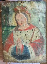 Antique 19th Century Spanish Colonial Retablo Painting Virgin Mary Mexican Folk