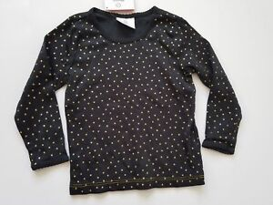 Hanna Andersson shirt 90 3T long sleeve top black gold glitter polka dot layers