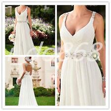 custom size beach Sexy v-neck open back Wedding dress  chiffon  bridal gowns