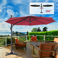 Outdoor Patio Umbrella Cantilever Hanging 10 ft Hanging Yard Deck Canopy