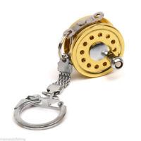 Gold Mini Fly Fishing Reel Pendant Miniature Key Ring Keychain Key Chain