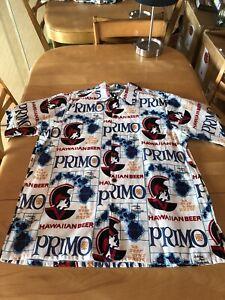 Vintage, Go Barefoot, PRIMO Hawaiian Beer Hawaiian Shirt, Size L.