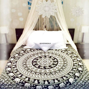 Elephant mandala bedding Queen Size Black and White Bed Set Two Pillow Covers