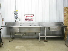 """149"""" Stainless Steel Heavy Duty Work Table Three Compartment 3 Bowl Sink 12' 5"""""""