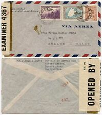 ARGENTINA WW2 AIRMAIL 1943 to SWITZERLAND via PANAIR BERMUDA CENSOR INTERCEPTED